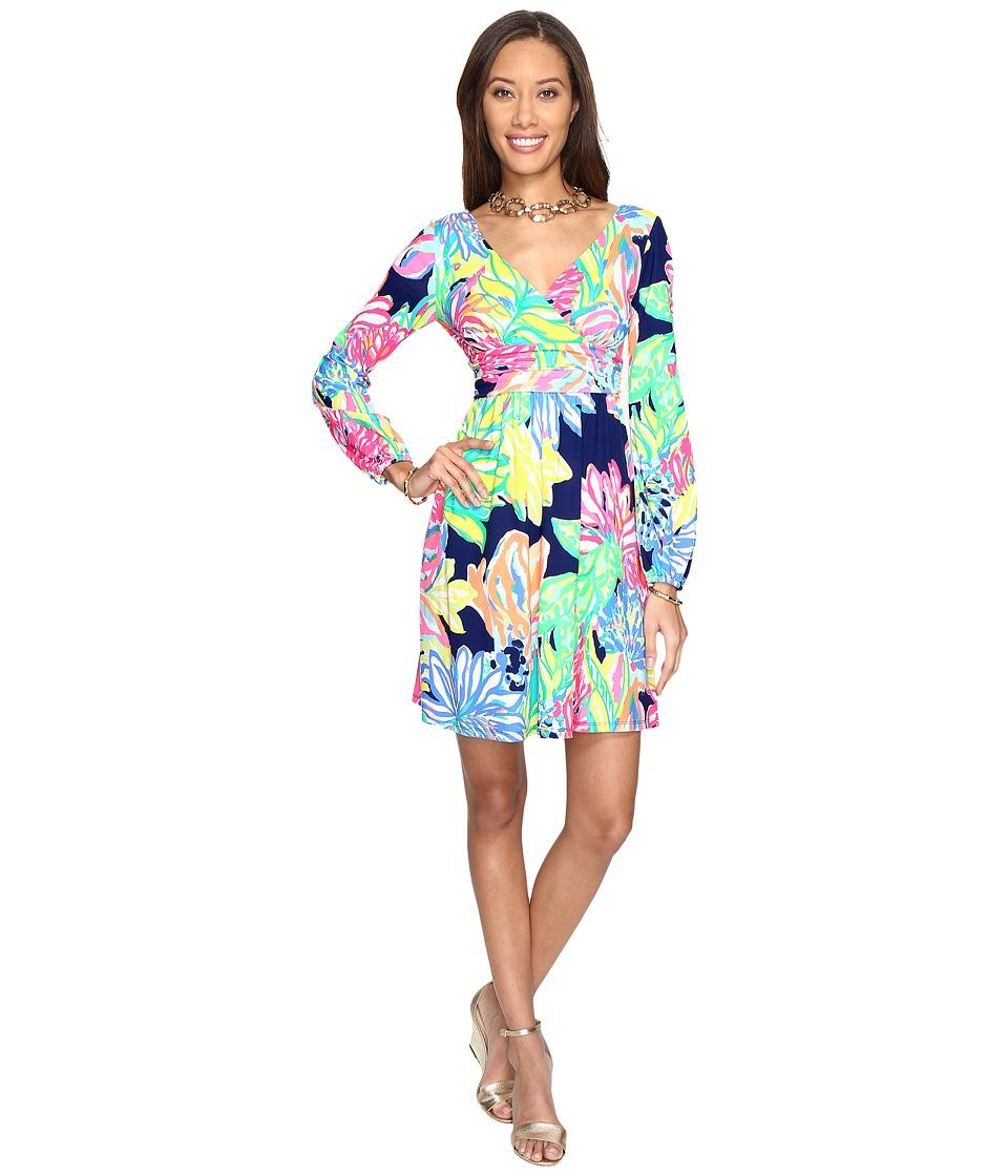 Lilly Pulitzer Fleur Dress (Resort Navy Travelers Palm) Women
