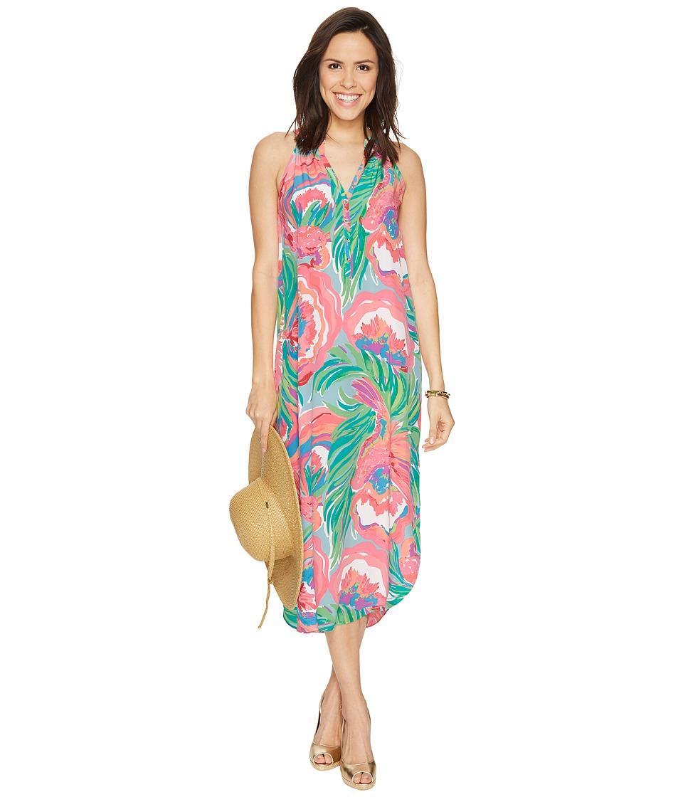 Lilly Pulitzer Bailey Silk Midi Dress (Serene Blue Paradise Bound) Women