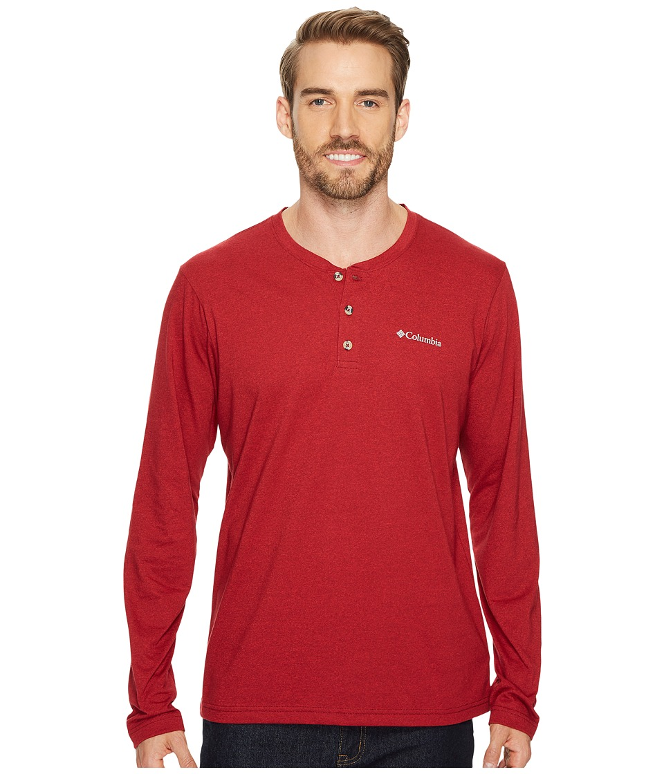 Columbia - Cullman Crest Long Sleeve Henley (Red Element/Mountain Red Heather) Men's Clothing