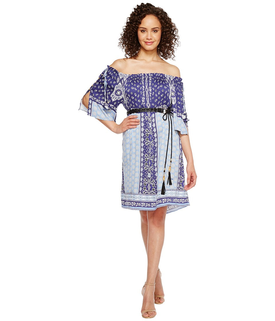 Hale Bob - Boho Bandits Rayon Stretch Satin Woven Off the Shoulder Dress