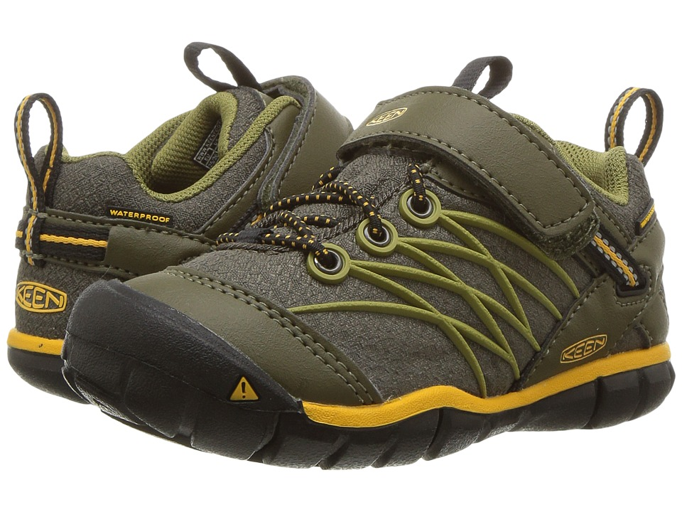 Keen Kids Chandler CNX WP (Toddler/Little Kid) (Dark Olive/Citrus) Boys Shoes