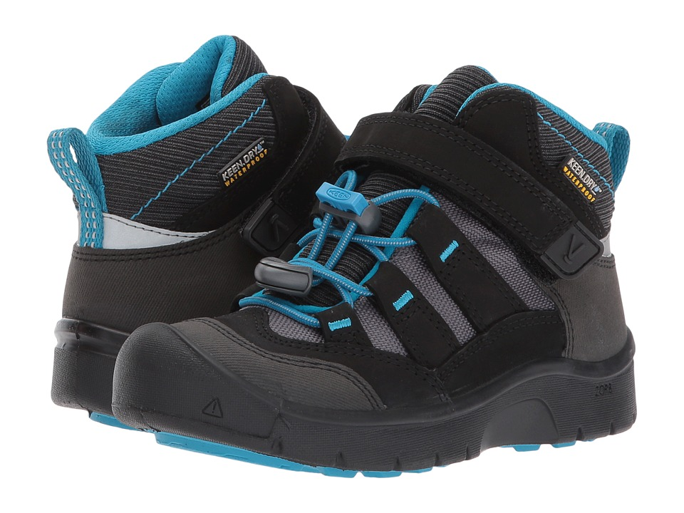 Keen Kids Hikeport Mid WP (Toddler/Little Kid) (Black/Blue Jewel) Boys Shoes