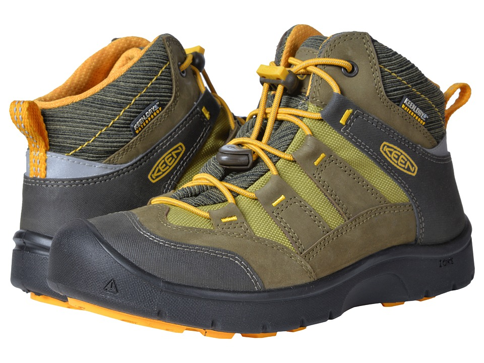 Keen Kids Hikeport Mid WP (Little Kid/Big Kid) (Dark Olive/Citrus) Boys Shoes