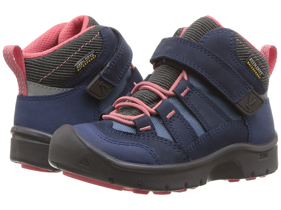 Keen Kids Hikeport Mid WP (Toddler/Little Kid) (Dress Blues/Sugar Coral) Girls Shoes
