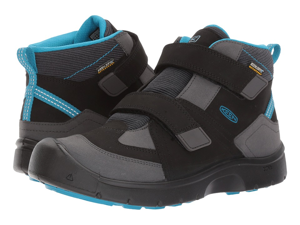 Keen Kids Hikeport Mid Strap WP (Little Kid/Big Kid) (Black/Blue Jewel) Boy's Shoes