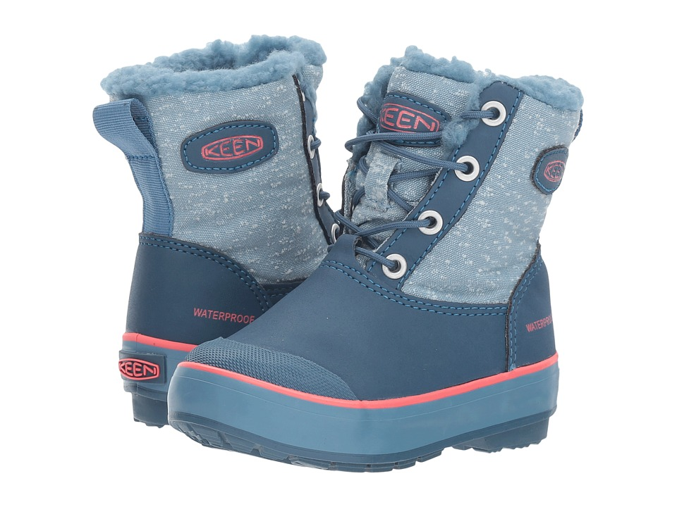 Keen Kids - Elsa Boot WP (Toddler/Little Kid) (Captains Blue/Sugar Coral) Girls Shoes