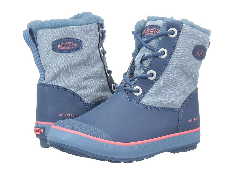 Keen Kids Elsa Boot WP (Little Kid/Big Kid) (Captains Blue/Sugar Coral) Girls Shoes