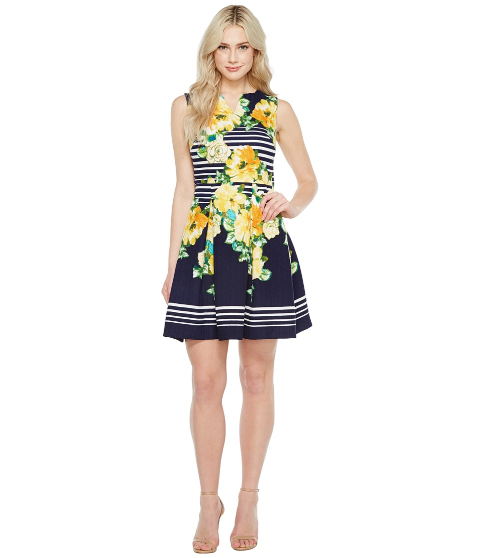 Christin Michaels Florence Sleeveless Fit and Flare Dress (Navy/Yellow) Women