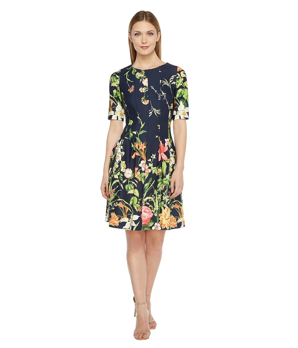 Christin Michaels - Elise 3/4 Sleeve Fit and Flare Dress