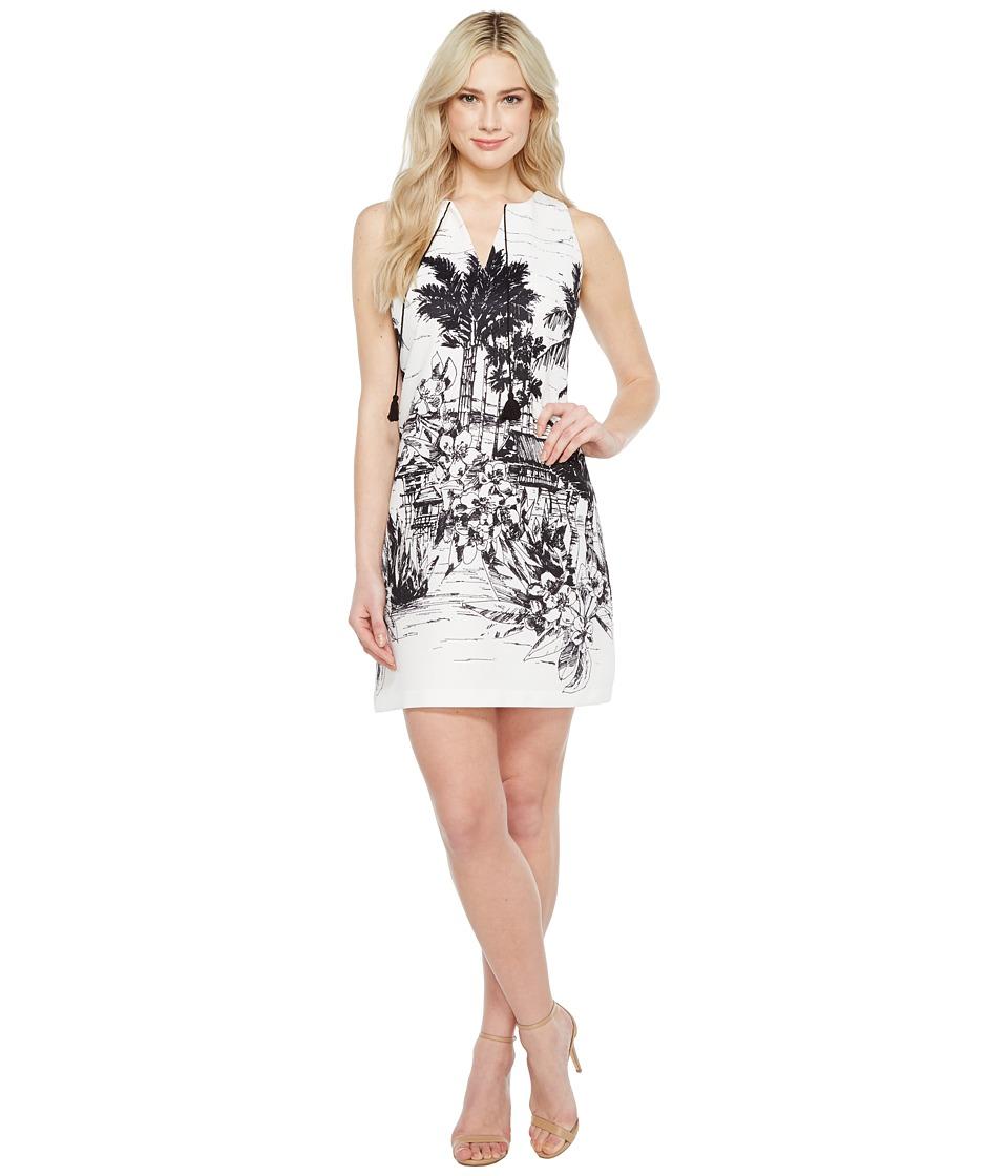 Christin Michaels Estelle Sleeveless Dress with Neck Tie (Ivory/Black) Women