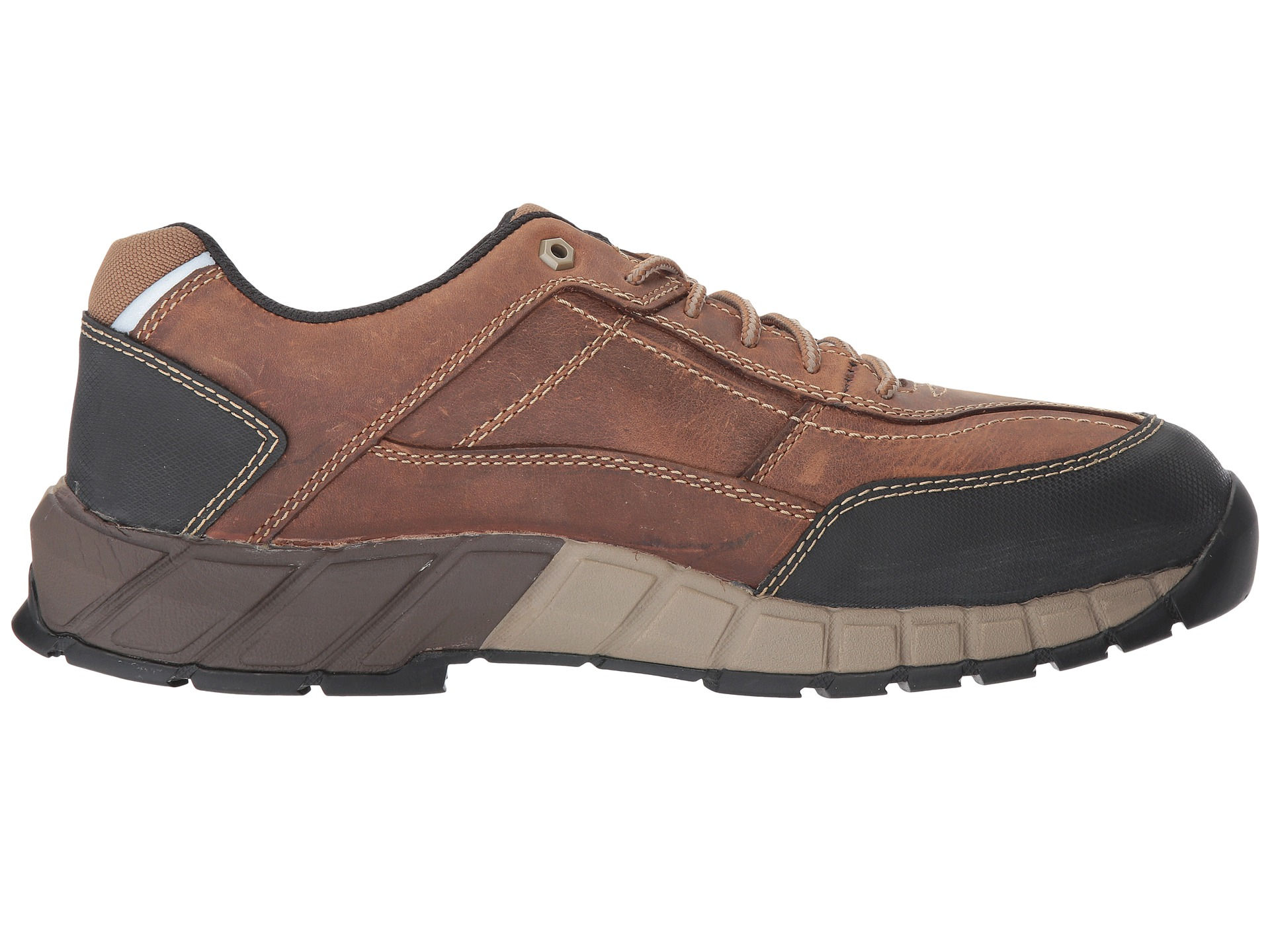 Caterpillar Men S Streamline Leather Dark Beige Work Shoe