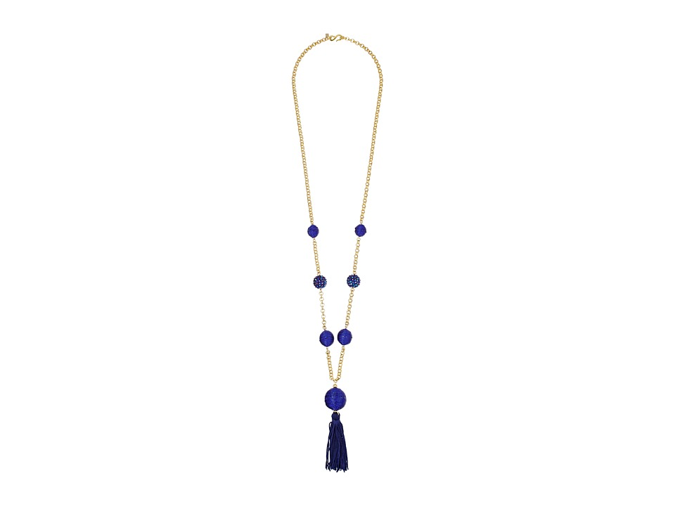 Kenneth Jay Lane 36 Gold Neck w/ Blue Pave Thread Wrap Ba...