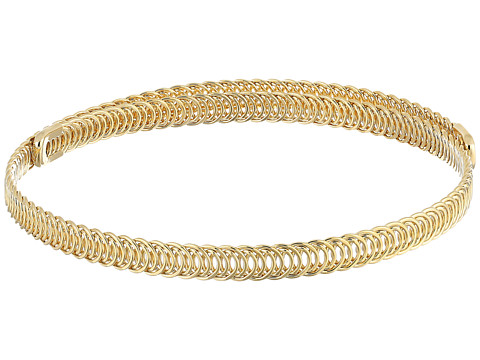 Kenneth Jay Lane Polished Gold Braided Wrap Around Dog Collar Necklace - Gold