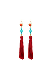 Kenneth Jay Lane - Polished Gold/Red Top/Turquoise Bead Red Tassel Wire Ear Earrings