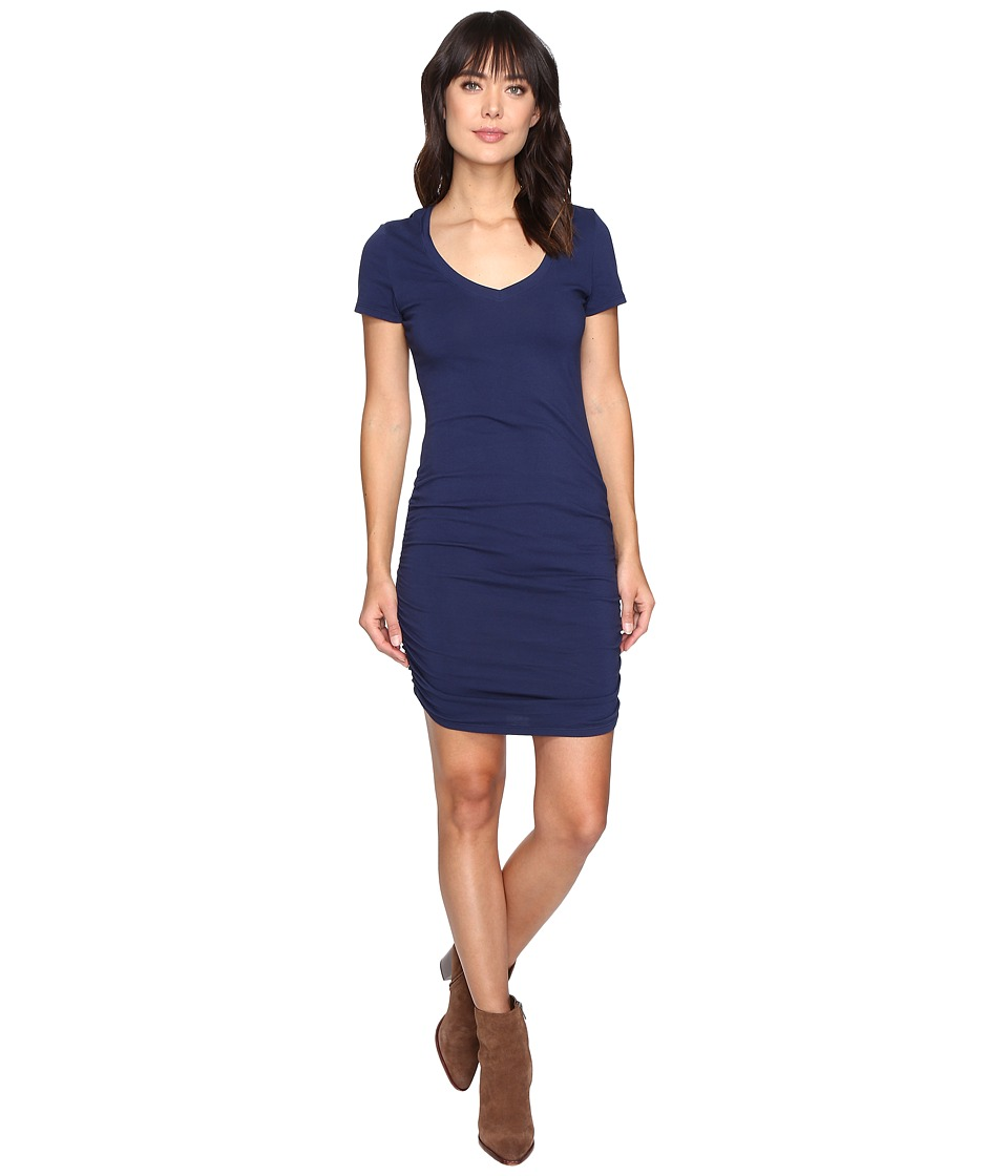 Michael Stars Short Sleeve V-Neck Rouched Mini Dress (Nocturnal) Women