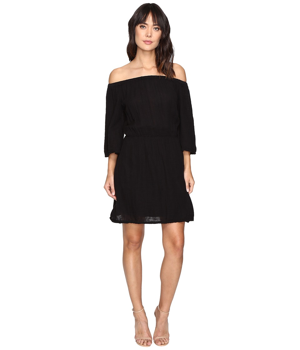 Michael Stars Double Gauze Off Shoulder Dress (Black) Women