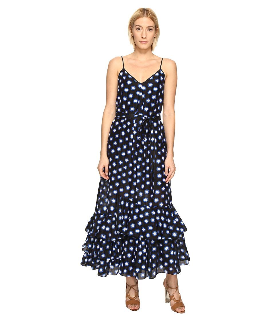 Boutique Moschino Ruffle Bottom Maxi Dress (Black Dot) Women