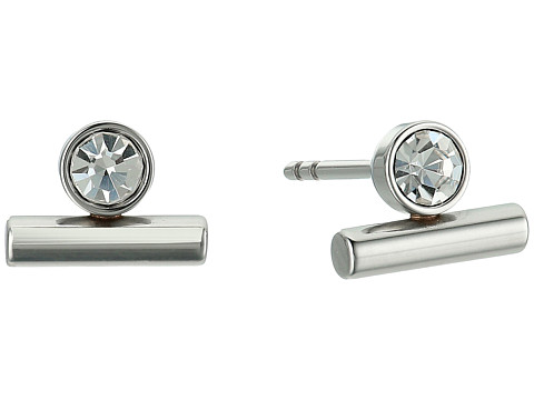 Fossil Vintage Glitz Line and Dot Studs Earrings - Silver