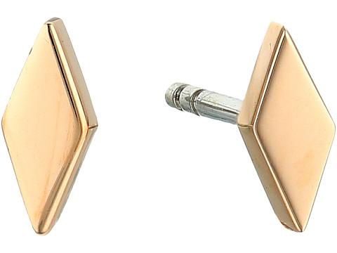 Fossil Diamond-Shaped Studs Earrings - Gold
