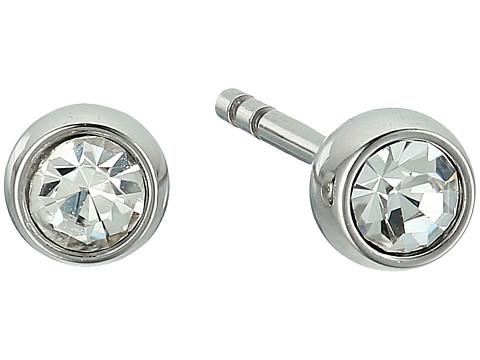 Fossil Crystal Studs Earrings - Silver