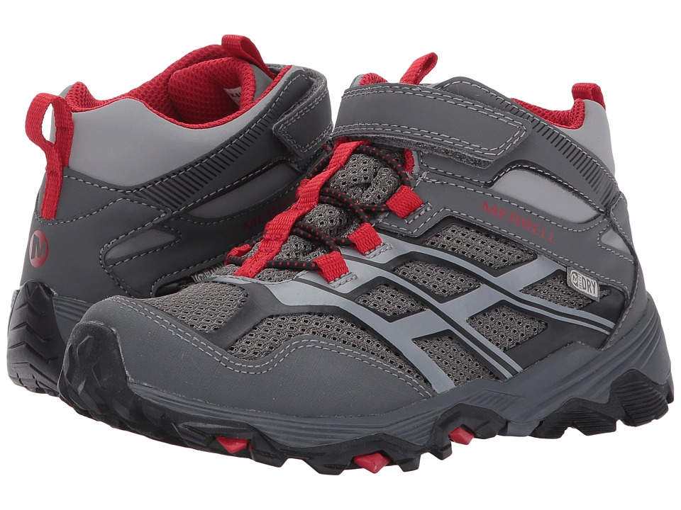 Merrell Kids Moab FST Mid A/C Waterproof (Little Kid) (Grey/Red) Boys Shoes