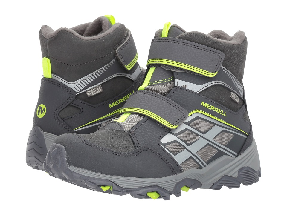 Merrell Kids Moab FST Polar Mid A/C Waterproof (Little Kid) (Grey) Boys Shoes