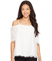 Vince Camuto Specialty Size - Petite Elbow Sleeve Cold-Shoulder Geo Lace Blouse