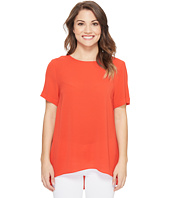Vince Camuto Specialty Size - Petite Short Sleeve High-Low Hem Textured Blouse