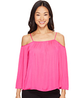 Vince Camuto Specialty Size - Petite Long Sleeve Cold-Shoulder Blouse