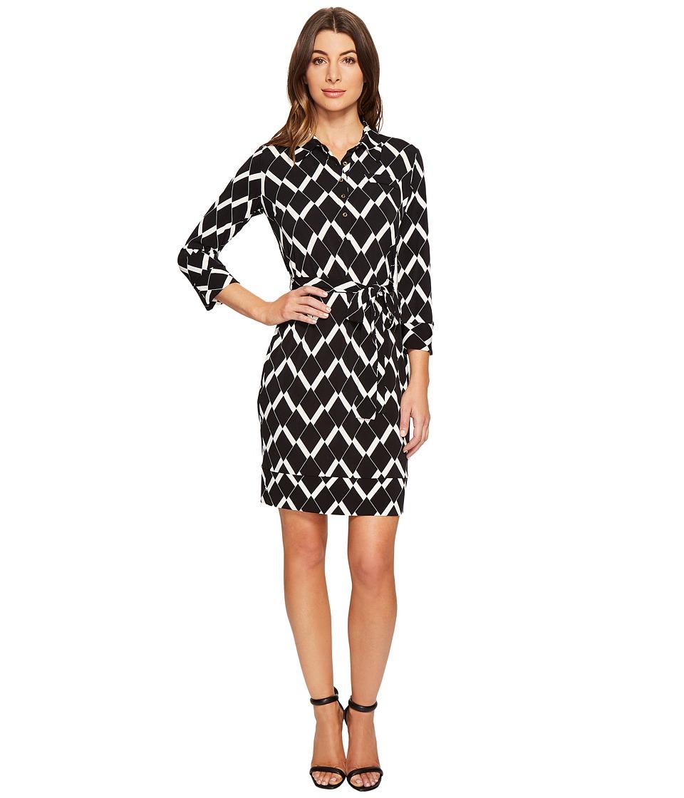 Donna Morgan 3/4 Sleeve Jersey Shirtdress (Black/Whitecap Grey) Women