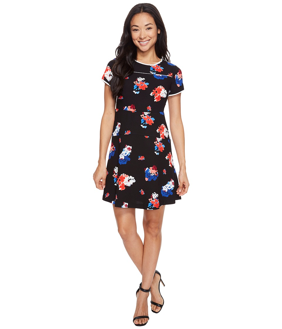 Vince Camuto Specialty Size Petite Short Sleeve Traveling Blooms Flare Dress (Rich Black) Women