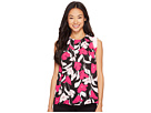 Vince Camuto Specialty Size - Petite Sleeveless Front Pleat Flower Weave Blouse