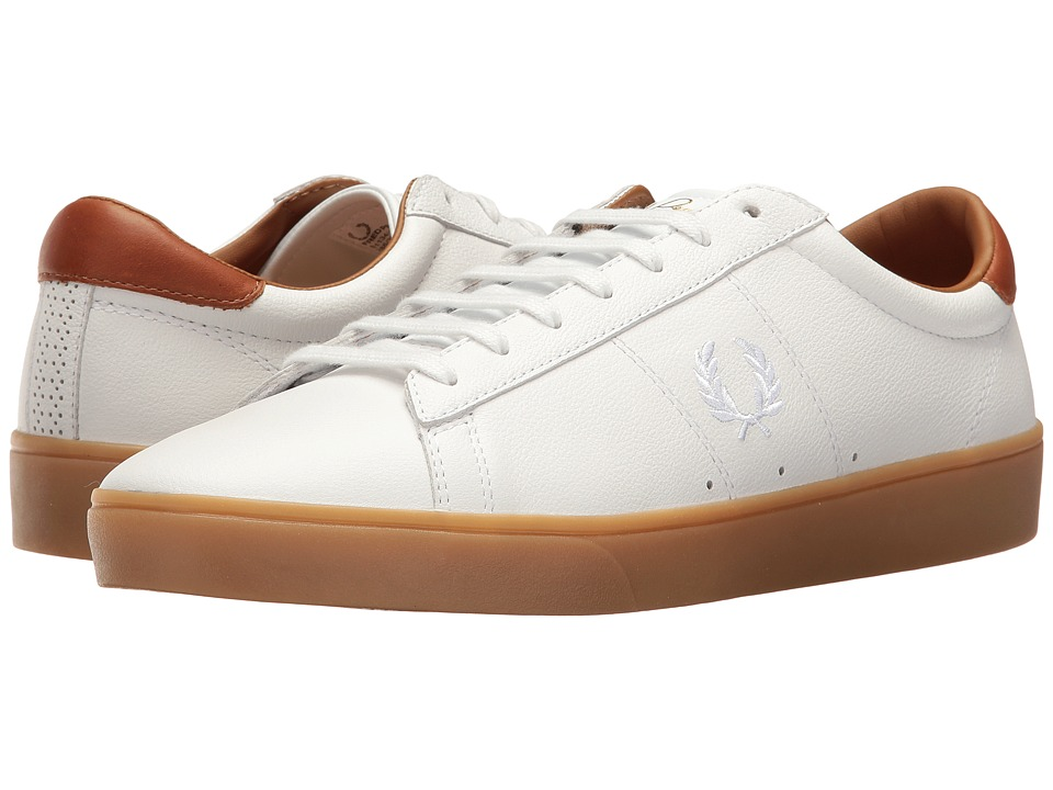 Fred Perry Spencer Tumbled Leather (White/White) Men