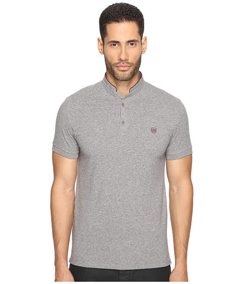 The Kooples Officer Collar Polo with Contrasting Trim - Vintage Grey/Cassis