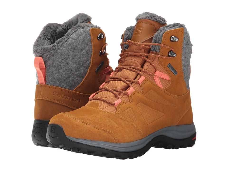 Salomon Ellipse Winter GTX(r) (Rawhide Leather/Rawhide Leather/Living Coral) Women