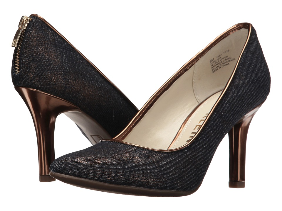 Anne Klein Falicia (Dark Blue/Gold/Bronze Fabric) High Heels