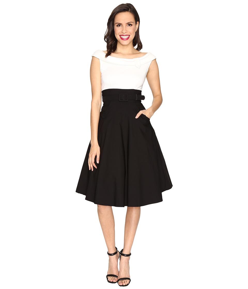 Unique Vintage Tippie Color Block Off the Shoulder Dress (Black/White) Women