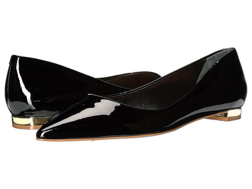 Massimo Matteo Pointy Toe Flat 17 (Black Patent) Women
