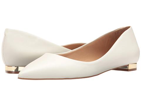 Massimo Matteo Pointy Toe Flat 17 - White Leather