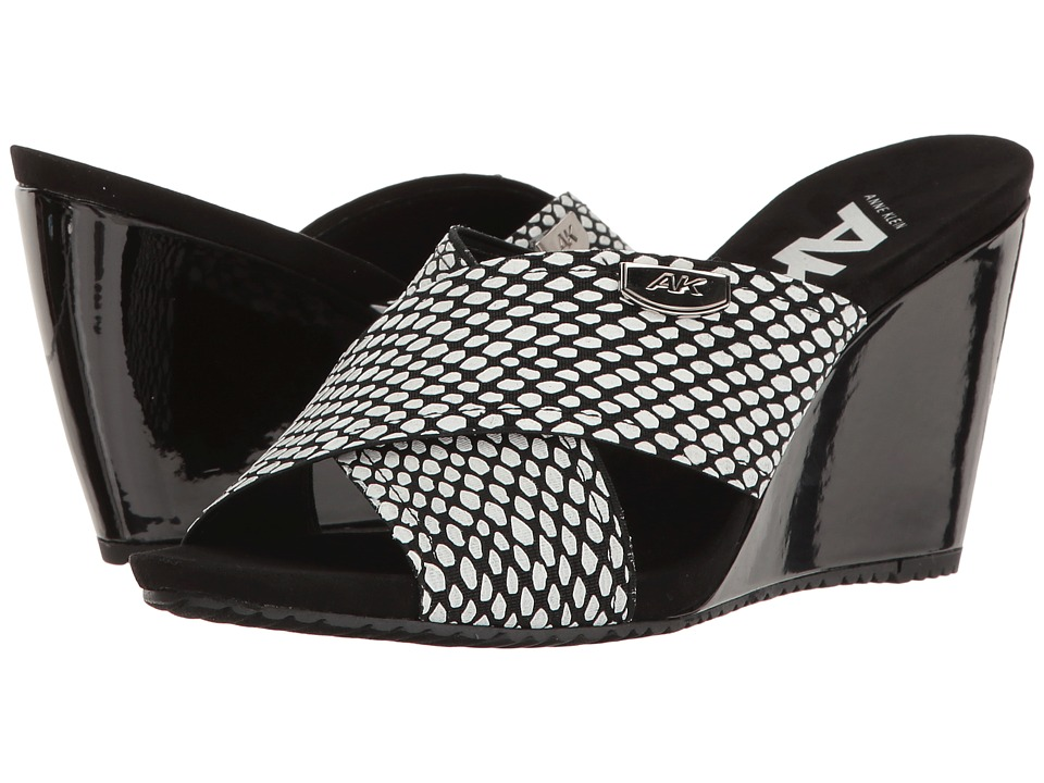 Anne Klein - Toria (Black/White Fabric) Womens Shoes