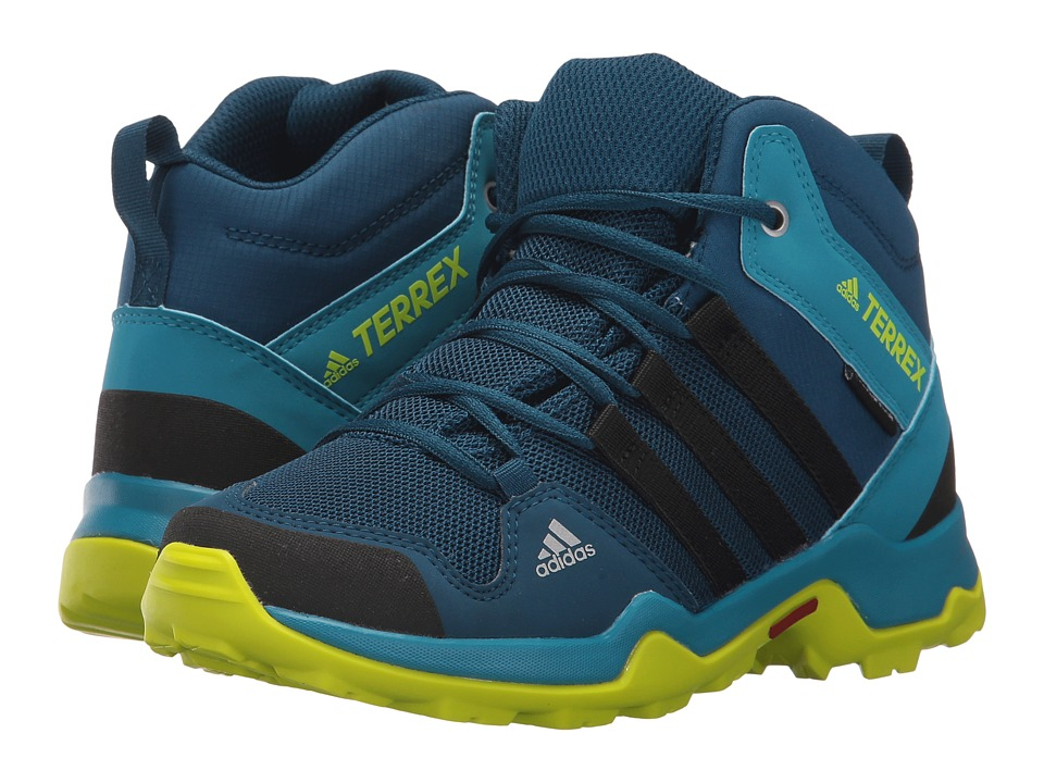 adidas Outdoor Kids Terrex AX2R Mid CP (Little Kid/Big Kid) (Blue Night/Black/Semi Solar Yellow) Boys Shoes