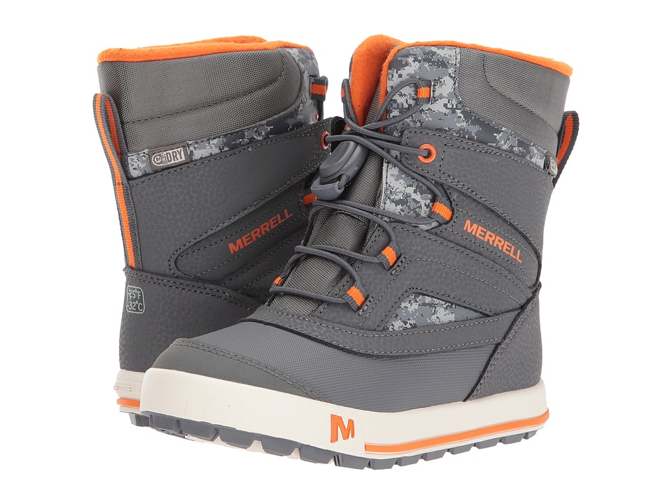Merrell Kids Snow Bank 2.0 Waterproof (Toddler/Little Kid) (Grey/Orange) Boys Shoes