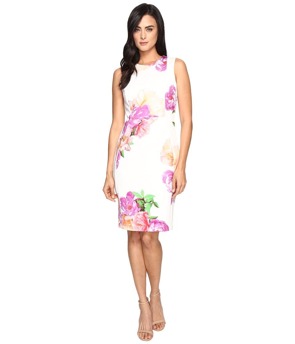 Calvin Klein Floral Sheath Dress CD7ME923 (Pink Multi) Women