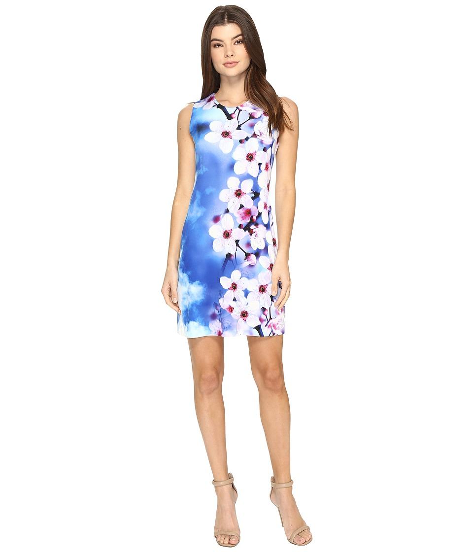 Calvin Klein Jersey Shift Dress in Floral Print CD7A4R8D (Blue Multi) Women