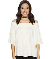 Jack by BB Dakota - Lin Rayon Crepe Off Shoulder Top with Novelty Elastic Trim