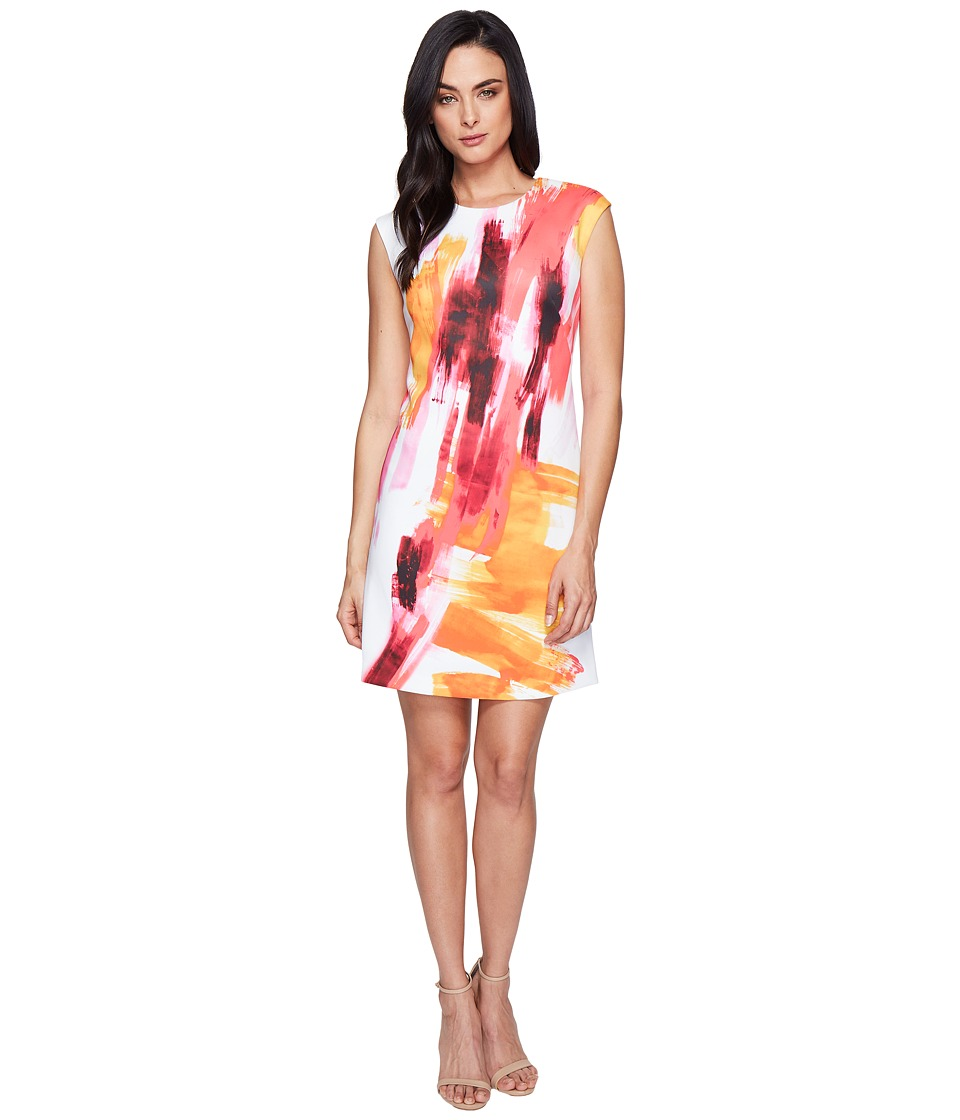 Calvin Klein Cap Sleeve A-Line Dress in Brush Stroke Print CD6M7L8U (Pink Multi) Women