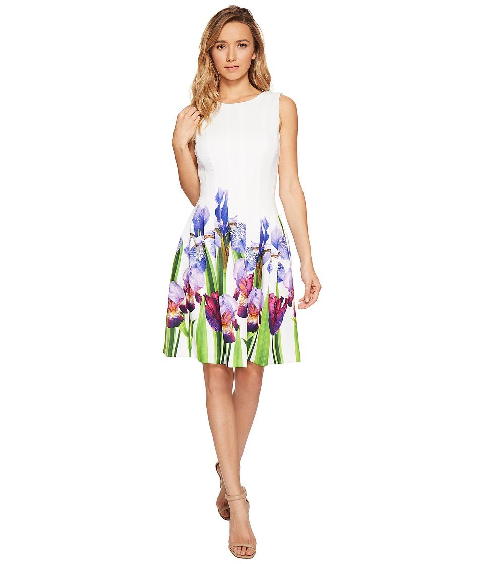 Calvin Klein Fit Flare Dress with Floral Border Print CD7MFA6U (Purple Multi) Women