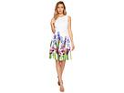 Fit & Flare Dress with Floral Border Print CD7MFA6U