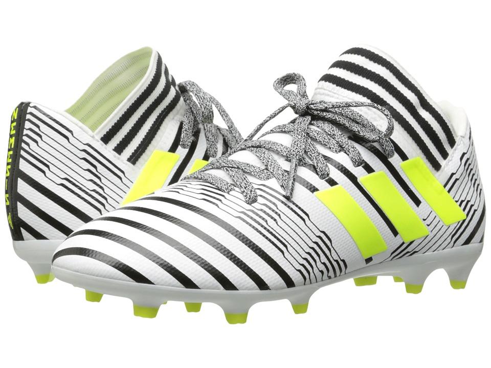 adidas Kids Nemeziz 17.3 FG J Soccer (Little Kid/Big Kid) (Footwear White/Solar Yellow/Core Black) Kids Shoes