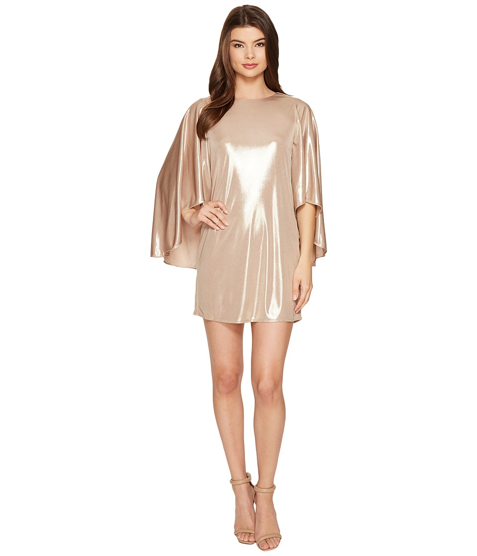 Halston Heritage Flowy Sleeve Round Neck Metallic Jersey Dress (Metallic Champagne) Women